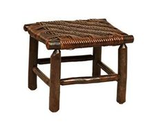 Amish Rustic Hickory Fireside Footstool with Caning