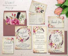floral wedding invitation set printable boho wedding invitation suite vintage romantic wedding bohemian wedding watercolor floral wreath