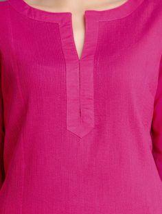 Fuschia Pintuck Cotton Kurta by Ruh