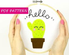 Gifts to surprise and easy patterns to create by Lanatema Cactus Embroidery, Diy Embroidery, Felt Diy, Felt Crafts, Felt Patterns, Sewing Patterns, Funny Home Decor, Felt Christmas Decorations, Cozy Christmas