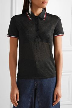 Alexander Wang - Metallic Stretch-knit Polo Shirt - Black