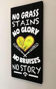 No Grass Stains No Glory, No Bruises No Story, Baseball/Softball Sign Decor, Inspirational Quote, Baseball Softball Heart Yellow Softball by NARSCH on Etsy