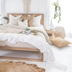 Our Strand Bed in French oak covered in beautiful . Our Strand Bed in French oak covered in beautiful linen Our Mele Stool making the perfect bedside table with our Inkosi Vases available in… Home Interior, Interior Design, Natural Interior, Simple Interior, Nordic Interior, Natural Home Decor, Bohemian Bedrooms, Bohemian Room, Bright Rooms