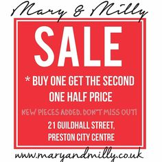 SALE ALERT! New pieces added!! Check it out - 21 Guildhall Street, Preston City Centre! Or online at www.maryandmilly.co.uk with FREE UK shipping! Don't miss out, M&M x