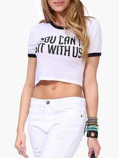White Letter Print Crop T-Shirt 8.99