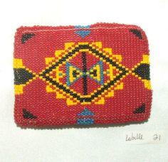 "Belt Buckle Native American Bead work Red Geometric 3.5x2.5"" New #21  $75.00 #nativeamerican #beadwork"