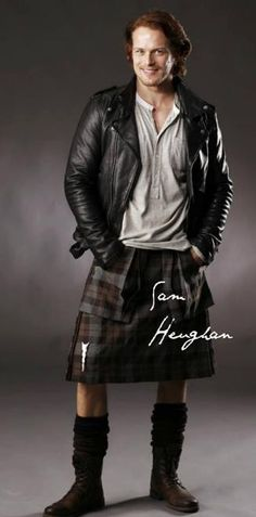 Sam in leathers and a kilt. Yes please.