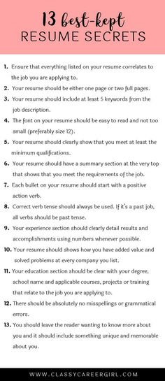 the 13 best kept resume secrets