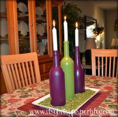 Empty Wine Bottle Crafts | Wine Bottle Centerpiece . . .