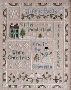 Snowflake Serenade by Country Cottage Needleworks, chart only Cross Stitch Sampler Patterns, Cross Stitch Samplers, Cross Stitch Charts, Cross Stitch Designs, Snowman Cross Stitch Pattern, Xmas Cross Stitch, Cross Stitch Christmas Ornaments, Cross Stitching, Cross Stitch Embroidery