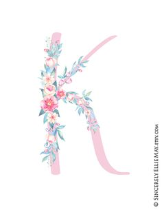 Items similar to Letter K Art Poster - Lovely Floral YOU PRINT Printable Gift perfect as Nursery Room Decor, Baby Shower or Birthday Gift 40138 on Etsy Watercolor Lettering, Floral Watercolor, Cellphone Wallpaper, Iphone Wallpaper, Printable Wall Art, Printable Designs, Letter Photography, Cute Baby Girl Pictures, Picture Letters