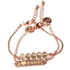 Rosekleurige JWLZ armbandset met kralen en de tekst 'I LOVE PARIS'. www.JWLZ.nl