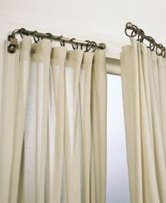 Replace your curtain rods with swing arm rods to open up the room and allow more light in. Windows appear to be bigger than they are, too. Love swing arm curtain rods, I have been on the hunt for old ones for a long time. Diy Casa, Drapery Rods, Swing Arm Curtain Rods, Home And Deco, My New Room, Window Coverings, Burlap Window Treatments, Unique Window Treatments, Home Interior Design