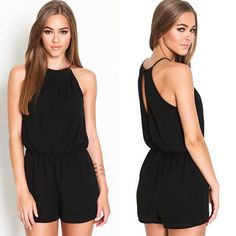 Fashion Black rompers womens jumpsuit 2014 Sexy chiffon short jumpsuit female Hot sale overalls for women Rompers Women, Jumpsuits For Women, Women's Rompers, Playsuit Romper, Black Romper, Boutique Dresses, Wearing Black, Sexy Women, Clothes