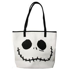 Loungefly Nightmare Before Christmas Jack Sally Faces Tote Bag Purse ❤ liked on Polyvore featuring bags, handbags, tote bags, white purse, shoulder handbags, handbags shoulder bags, hand bags and tote handbags