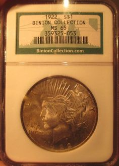 1922 Silver Peace Dollar NGC MS 65 Binion Casino Collection Pedigree Toned Coin