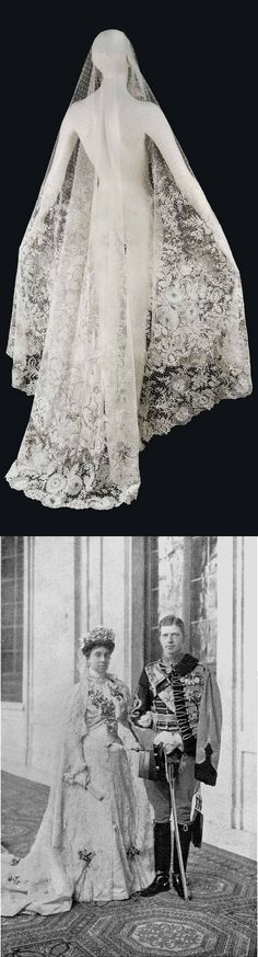 A BELGIAN NEEDLE AND BOBBIN LACE TEAR-SHAPED WEDDING VEIL, BRUSSELS, CIRCA 1860. The handmade net ground applied with a deep border of floral sprays. 78 ¾ in. (200 cm.) long; 67 in. (170 cm.) wide. Worn by Infanta María Teresa of Spain on her wedding to Prince Ferdinand of Bavaria, which took place in the chapel of the Royal Palace of Madrid on 12 January 1906.