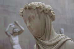 The veiled Vestal Virgin by Raffaele Monti, dating from 1847. Commissioned by the 6th Duke of Devonshire.