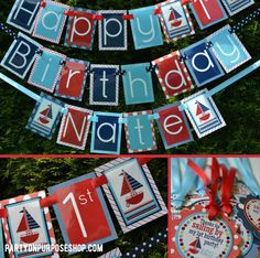 Nautical Birthday Party Decorations Package - Lets go Sailing via Etsy