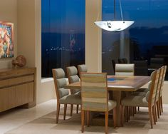 Furniture, Contemporary Dining Room With Simple Dining Table And Chair With Cool Pendant Lamp Also Wood Buffet Design Ideas: Dining Room Sid...