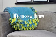 DIY no-sew fleece throw.. We were just talking about making these at the dorm!