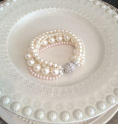 Blush Pearl Bracelet Ivory and Blush Wedding by SarahWalshBridal, $175.00