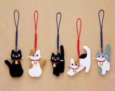 DIY Japanese Folk Art Mobile Strap Fabric kit Can make 5 cats --- Japanese Craft Kit (Just u. DIY Japanese Folk Art Mobile Strap Fabric kit Can make 5 cats --- Japanese Craft Kit (Just use glue