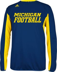 Michigan Wolverines Climawarm Football Blue Sideline Crew by Adidas $64.95