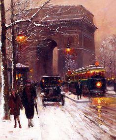 """marcuscrassus: """" Edouard Cortes - Arc de Triomphe, Paris Winter """""""