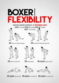 Boxer Flexibility is a Darebee themed week boxer workout. Boxing Training Workout, Boxer Workout, Mma Workout, Kickboxing Workout, Mma Training, Boxing Workout With Bag, Punching Bag Workout, Boxer Training, Kick Boxing