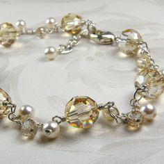 Swarovski Champagne Bracelet Citrine Crystal Cluster