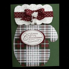 Christmas mitten card - Plaid mitten belongs on a Winter or Christmas page. Homemade Christmas Cards, Christmas Cards To Make, Plaid Christmas, Xmas Cards, Handmade Christmas, Homemade Cards, Holiday Cards, Gift Cards Money, Winter Cards