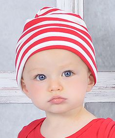 Loving this Truffles Ruffles Red & White Stripe Beanie on #zulily! #zulilyfinds