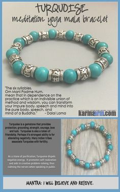 Turquoise is one of the oldest protection amulets. It is a #healer #stone, providing solace for the spirit and well-being. Many #Indian #tribes associate #Turquoise with #fertility. #OM #Om #Mani #Padme #Hum #Buddhist #Beaded #Beads #Bijoux #Bracelet #Bracelets #Buddhist #Chakra #Charm #Crystals #Energy #gifts #gratitude #Handmade #Healing #Jewelry #Kundalini #LawOfAttraction #LOA #Love #Mala #Meditation #Mens #prayer #pulseiras #Reiki #Spiritual #Stacks #Stretch #Womens #Yoga #YogaBracelets