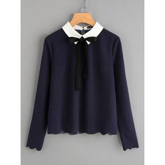 SheIn(sheinside) Contrast Collar Tied Detail Scallop Trim Blouse ($15) ❤ liked on Polyvore featuring tops, blouses, navy, bow blouse, neck-tie, long sleeve blouse, navy blue necktie and tie collar blouse