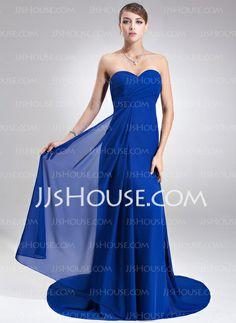 Bridesmaid Dresses - $119.99 - Empire Sweetheart Court Train Chiffon Bridesmaid Dress With Ruffle (007022517) http://jjshouse.com/Empire-Sweetheart-Court-Train-Chiffon-Bridesmaid-Dress-With-Ruffle-007022517-g22517