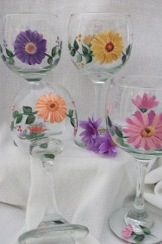 Violets Hand Painted on a Medium Wine Glass by SusanRuthCreations