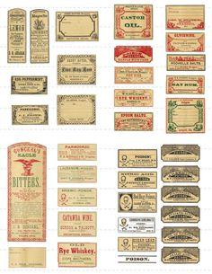 Digital Download Collage Sheet Antique 1800's Mini Vintage Druggists Apothecary Pharmacy Lemon Poison Oil Labels 50% 2 (90)