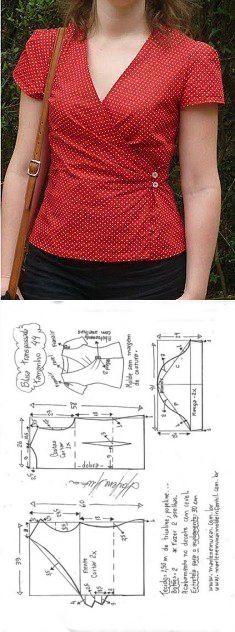 Шитье ✂ Выкройки.Блуза ...... размер 36-56 португальский #Выкройки Многоразмерные #БлузкиТопы