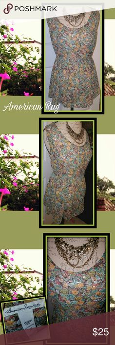 NEW! American Rag Sequined Tieback Top Sz 3X STUNNING nwot sleeveless top, by American Rag! Pretty floral pattern, with a light sprinkling of clear/iridescent sequins. Just enough to give it some sparkle & depth. Tie back, in matching fabric, so you can't see it in the pics. Longer, almost tunic style length. This will make a perfect layering piece during the cooler months, & will look perfect alone on warmer days! For now..throw on some leggings with it, tall boots, denim jacket, & maybe an…
