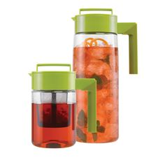 Flash Chill Iced Tea Maker Set - Simply steep the tea in the smaller pitcher using the built-in infuser, transfer it to the larger pitcher filled with ice, shake it up, and serve. Made of lightweight, shatterproof AcraGlass—a durable, food-safe acrylic—and featuring airtight twist-top lids, this set was a Top 5 Finalist for the Innovation Award from International Housewares association.