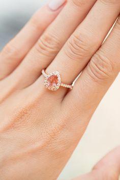 14kt gold and diamond sunstone teardrop ring – Luna Skye