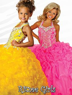 Ritzee Girls Crystal Puffy Ball Gown 2015 Cheap Yellow Little Girls Pageant Dresses Stunning Square Beaded Bodice Organza Dress Party Prom Online with $76.24/Piece on Olesa's Store | DHgate.com