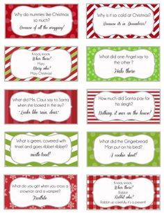 24 Free Printable Christmas Joke cards.
