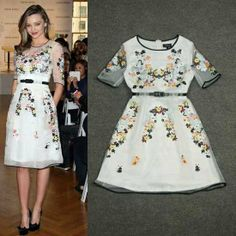 Free Shipping 2014 Newest Runway Perfect Embroidery Organza Dress 140524VV01 $71.00