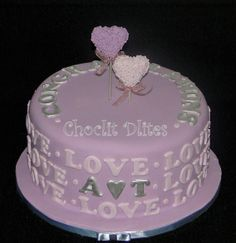 Engagement Cake -Shades of purple and silver for this engagement cake - based on a photo sent to me.unsure of original designer. Chocolate sponge, filled with ganache and covered in fondant Chocolate Sponge, Engagement Cakes, Shades Of Purple, Fondant, Wedding Cakes, Birthday Cake, Desserts, Silver, Food