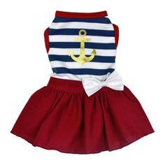 Let your dog set sails for fashionable fun when they sport this nautical-themed flared dress!