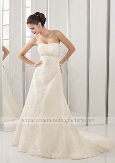 Empire Straight Neckline With Ruched Chapel Train Lace And Chiffon And Taffeta Wedding Dress (EMWD44)
