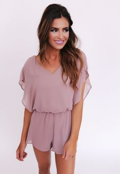 Solid Chiffon Romper- Taupe - Dottie Couture Boutique Outfits For Teens, Stylish Outfits, Cute Outfits, Spring Summer Fashion, Spring Outfits, Teen Fashion, Fashion Outfits, Dottie Couture Boutique, Nice Dresses