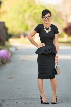 Kate Style Petite - #LBD @asos peplum dress @versonastores necklace @katespadeny glasses